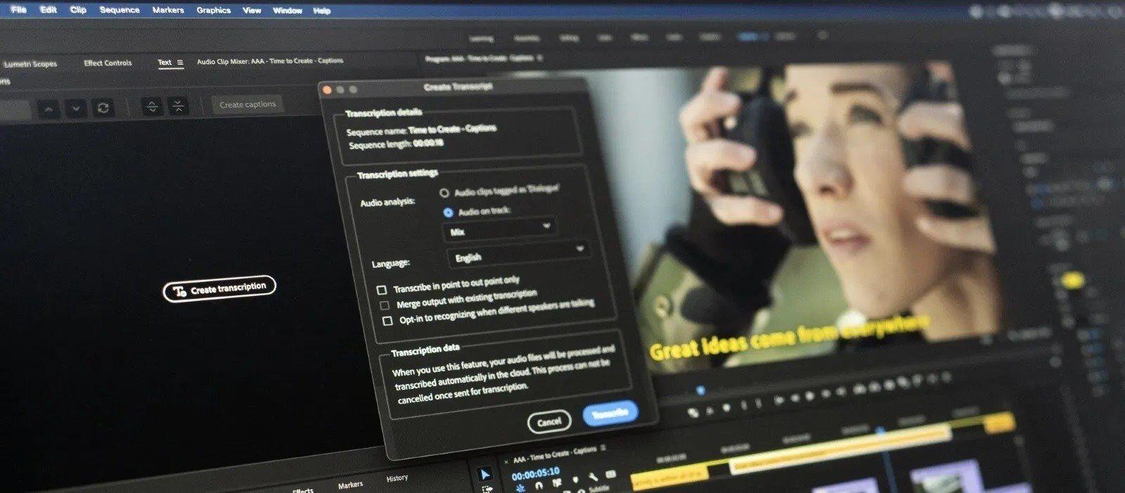 Adobe Premiere Pro 正式推出支援繁體中文的語音轉文字字幕功能,原生支援 M1 Mac 裝置 @3C 達人廖阿輝